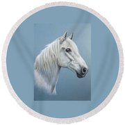White Stallion Round Beach Towel
