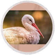 White Stork Round Beach Towel
