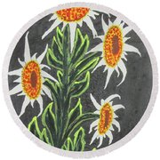 White Sunflowers Round Beach Towel