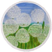 White Sunflowers, Painting Round Beach Towel
