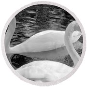 White Swans Round Beach Towel