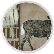 White Tail Deer Wild Game Rustic Cabin Round Beach Towel
