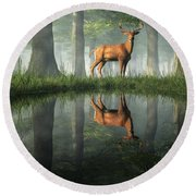 White Tailed Deer Reflected Round Beach Towel