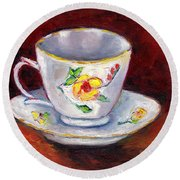 White Tea Cup With Yellow Flowers Grace Venditti Montreal Art Round Beach Towel