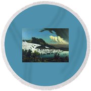 White Terraces, Rotomahana, By William Binzer. Round Beach Towel