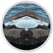 White-throated Dipper Mirrored Round Beach Towel