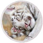 White Tiger Dreams Round Beach Towel by Carol Cavalaris
