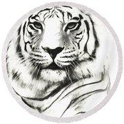 White Tiger Portrait Round Beach Towel