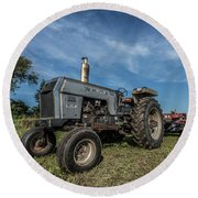 White Tractor Round Beach Towel