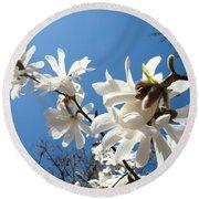 White Tree Flowers Art Prints Magnolia Blue Sky Floral Baslee Troutman Round Beach Towel