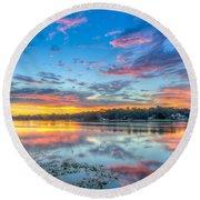 White Trout Lake Sunset - Tampa, Florida  Round Beach Towel