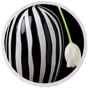 White Tulip In Striped Vase Round Beach Towel by Garry Gay