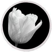 White Tulip Open Round Beach Towel