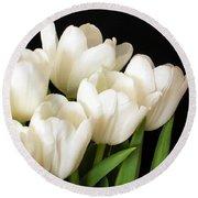 White Tulips 1 Round Beach Towel
