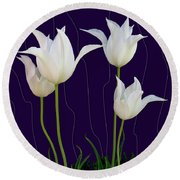 White Tulips For A New Age Round Beach Towel