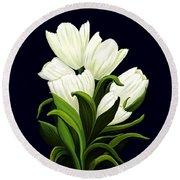 White Tulips Round Beach Towel