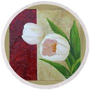 White Tulips Round Beach Towel by Phyllis Howard