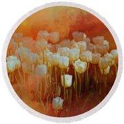 White Tulips Round Beach Towel by Richard Ricci