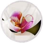 White Veil Orchid Round Beach Towel