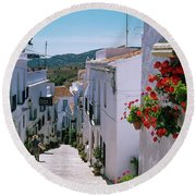 White Village Of Frigiliana Andalucia., Spain Round Beach Towel
