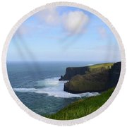 White Water At The Base Of The Cliff's Of Moher Round Beach Towel