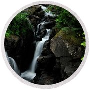 White Water Black Rocks Round Beach Towel