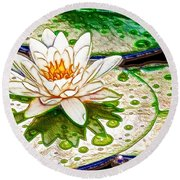 White Water Lilies Flower Round Beach Towel