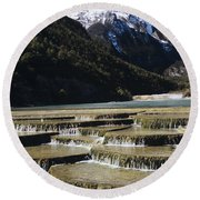 White Water River - Lijiang Round Beach Towel