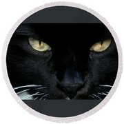 White Whiskers Round Beach Towel