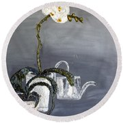 White Wild Orchid Round Beach Towel