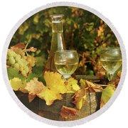 White Wine And Grape In Vineyard Round Beach Towel