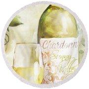 White Wine Watercolor Round Beach Towel