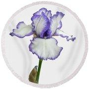 White With Purple Trim Bearded Iris  Round Beach Towel