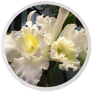 White With Yellow Orchids  Round Beach Towel