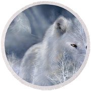 White Wolf Round Beach Towel