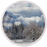 White Yosemite Round Beach Towel