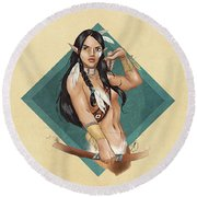 Whitefeather V.2 Round Beach Towel by Brandy Woods