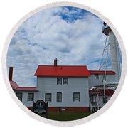 Whitefish Point Lighthouse I Round Beach Towel