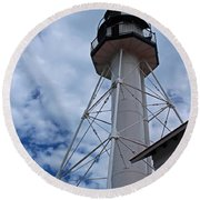 Whitefish Point Lighthouse II Round Beach Towel