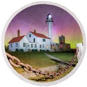 Whitefish Point Lighthouse   Northern Lights -0524 Round Beach Towel
