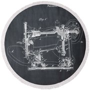 Whitehill Sewing Machine Patent 1885 Chalk Round Beach Towel