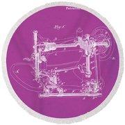 Whitehill Sewing Machine Patent 1885 Pink Round Beach Towel