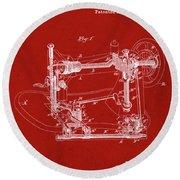 Whitehill Sewing Machine Patent 1885 Red Round Beach Towel