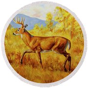 Whitetail Deer In Aspen Woods Round Beach Towel by Crista Forest