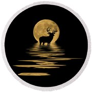 Whitetail Deer In The Moonlight Round Beach Towel