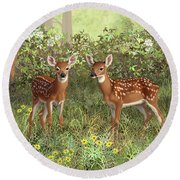 Whitetail Deer Twin Fawns Round Beach Towel by Crista Forest