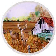 Whitetail Deer With Truck And Barn Round Beach Towel