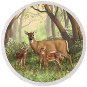 Whitetail Doe And Fawns - Mom's Little Spring Blossoms Round Beach Towel by Crista Forest