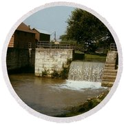 Whitewater Canal Locks Metamora Indiana Round Beach Towel