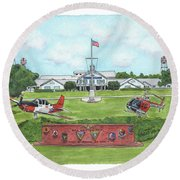 Whiting Field Welcome Sign Round Beach Towel by Betsy Hackett